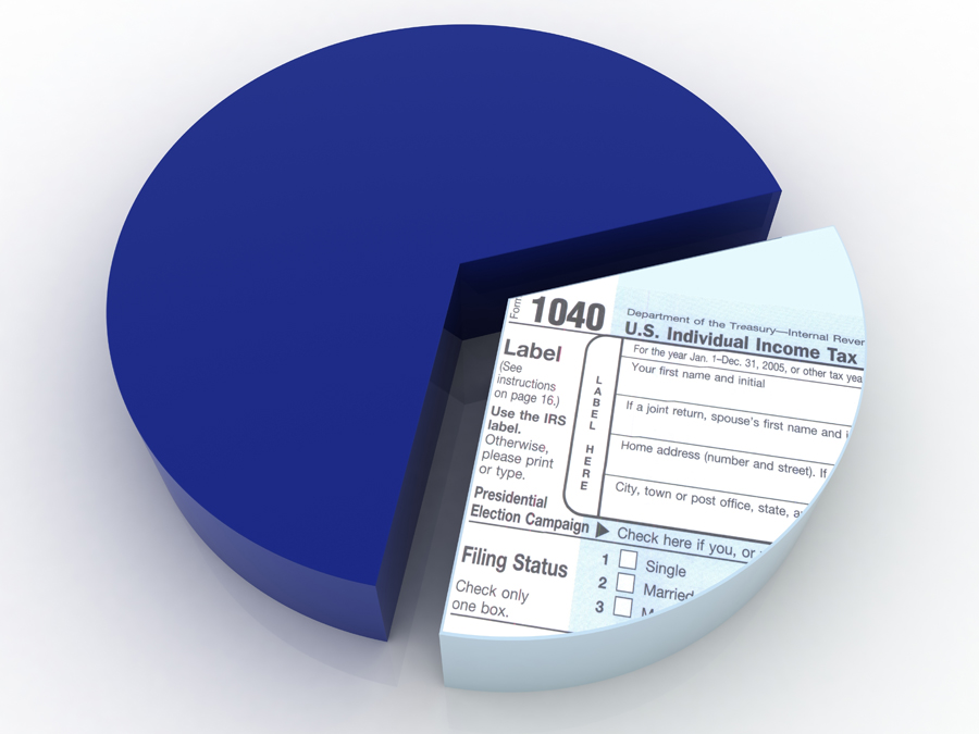 Pie Chart with 1/3 a 1040 tax form