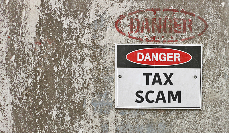 Danger Tax Scam Sign