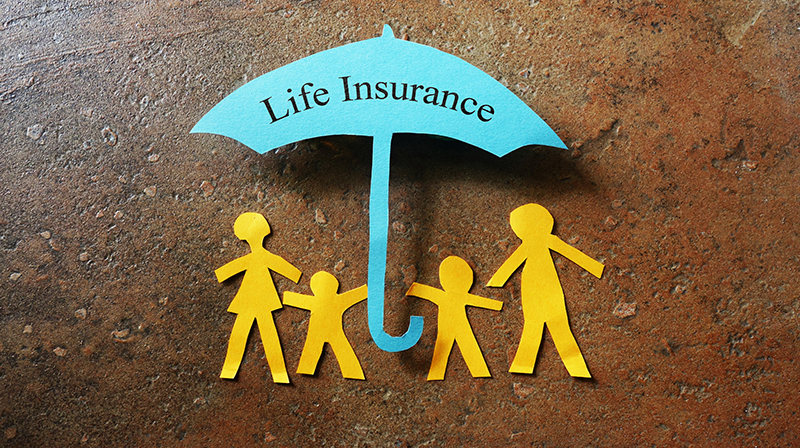 Family under umbrella that says Life Insurance