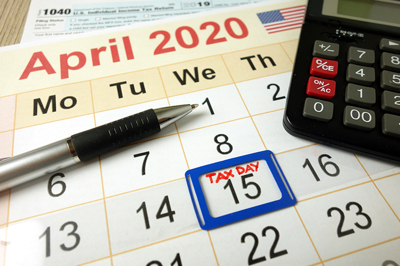 Calendar with April 15th marked as Tax Day