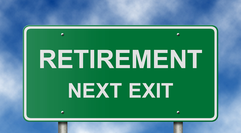 Green sign that says Retirement Next Exit