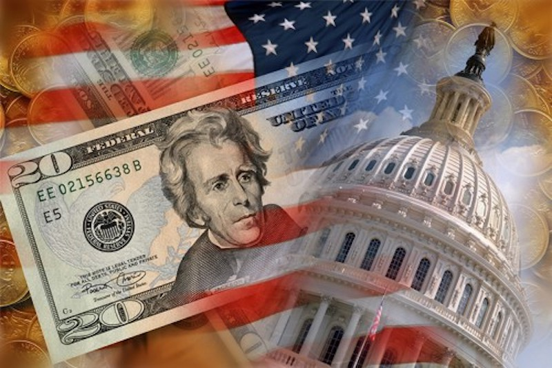 $20 bill, American Flag, and Capital Building
