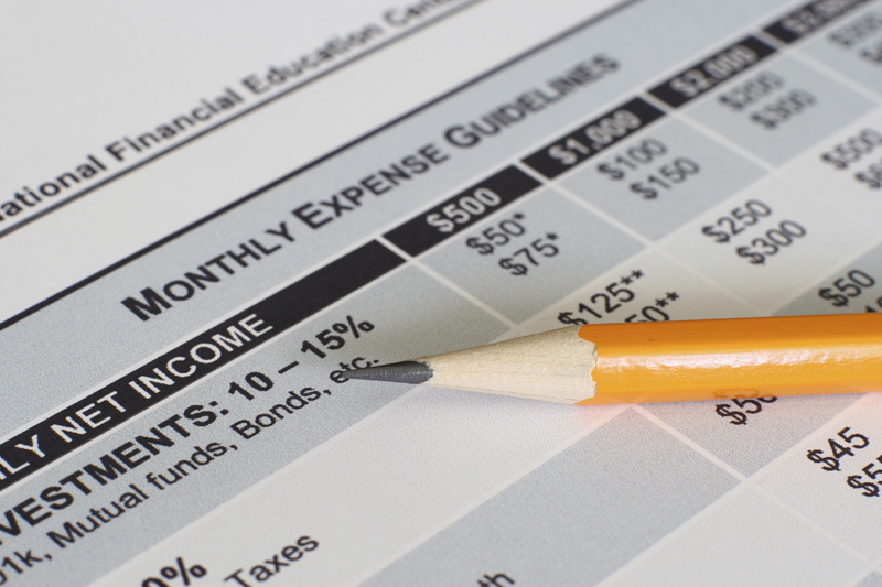 Pencil on Monthly Expense Guidelines paper