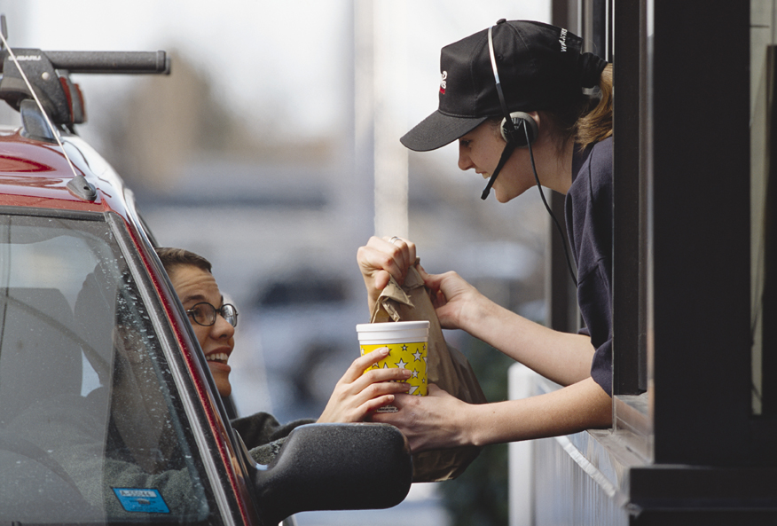 Person receiving fast food