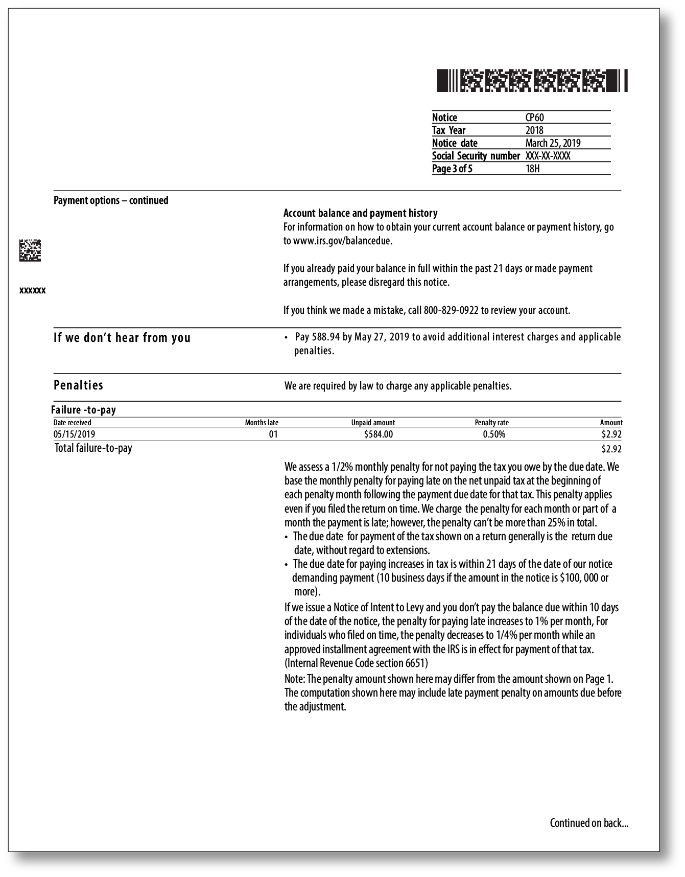 IRS Audit Letter CP60 – Sample 1