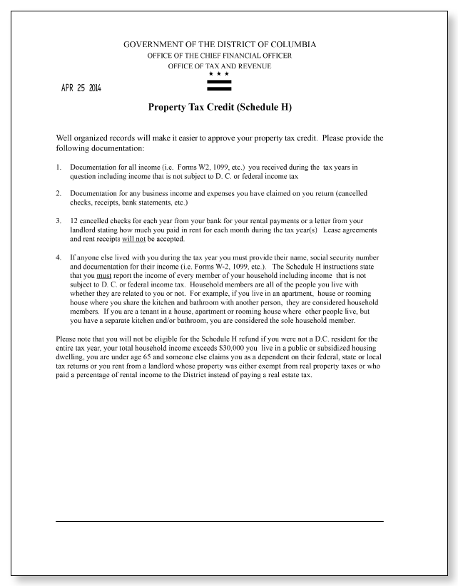 Washington DC Tax and Revenue Standard Letter 21 – Sample 1