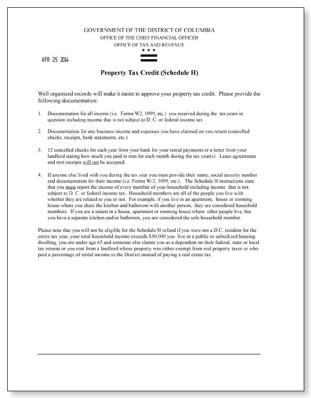 Washington Dc Tax And Revenue Standard Letter 21 Sample 1