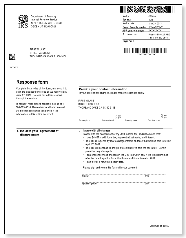 IRS Audit Letter CP2000 – Sample 5