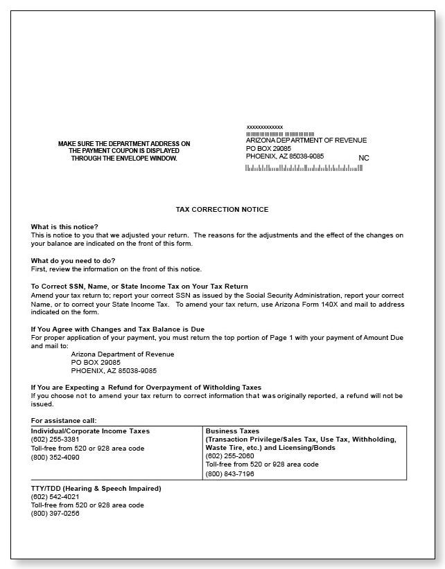 Arizona Tax Correction Notice Sample 1