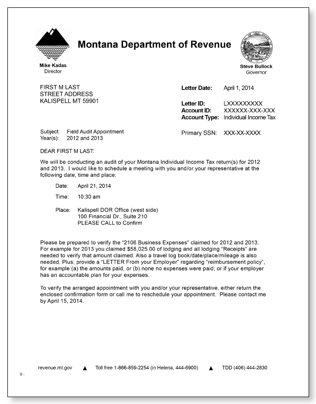 Montana Department of Revenue Field Audit Letter – Sample 1