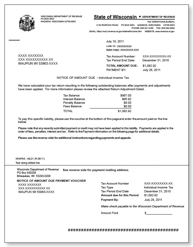 Wisconsin Notice of Amount Due – Sample 1
