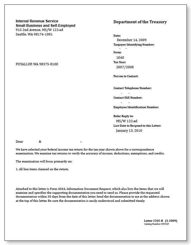 IRS Audit Letter 2202 B Sample 1