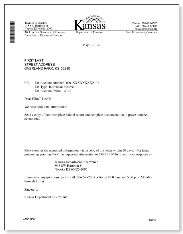 Kansas Department of Revenue – AADDINFO Letter – Sample 1