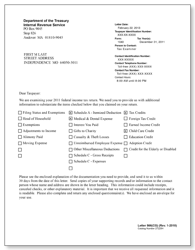 Irs Response Letter.Irs Audit Letter 566 Cg Sample 3