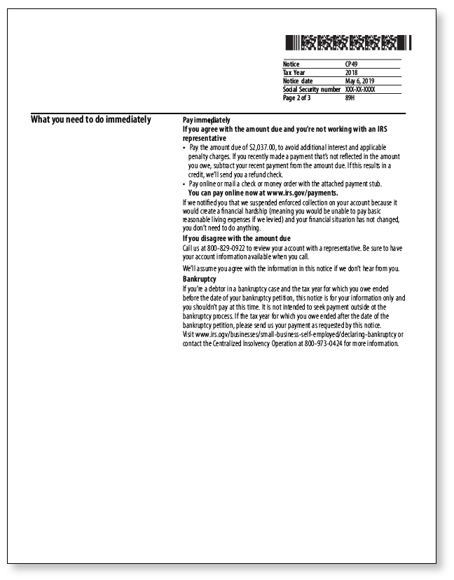 IRS Audit Letter CP49 – Sample 1