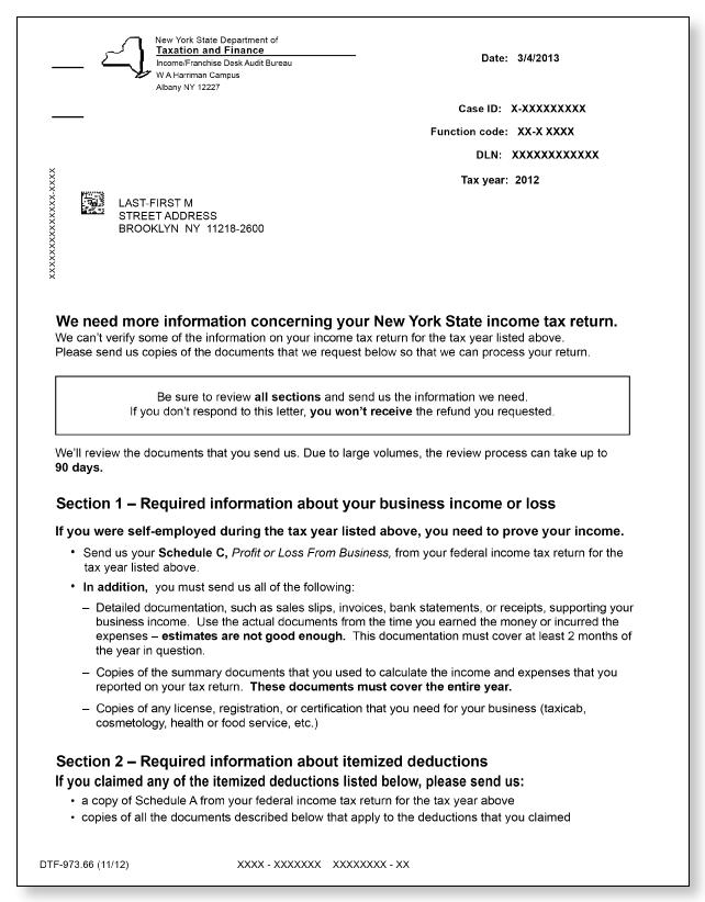 New York DTF 973 Letter – Sample 1