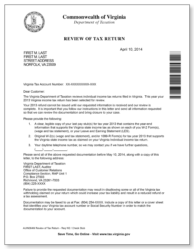Virginia department of taxation review letter sample 1 for Tax refund letter template