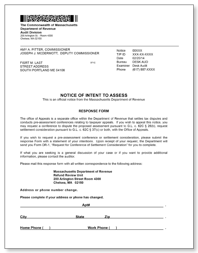 Massachusetts Notice of Intent to Assess – Sample 1