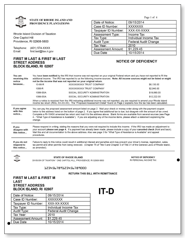 Rhode Island Notice of Deficiency Letter – Sample 1