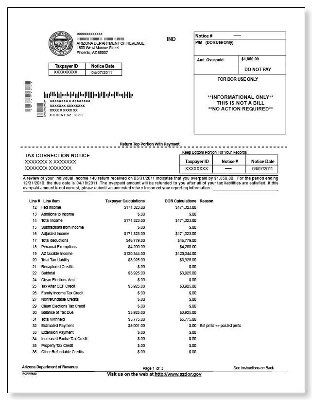 Arizona tax correction notice sample 1 arizona tax correction notice sample 1 pdf spiritdancerdesigns Images
