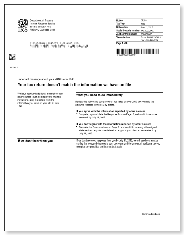 irs audit letter cp2501  u2013 sample 1
