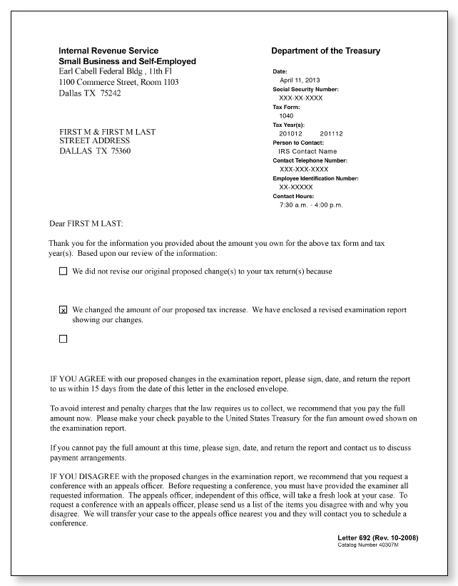 IRS Audit Letter 692 Sample 1
