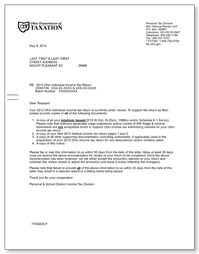 tax refund letter template - ohio department of taxation under review letter sample 1