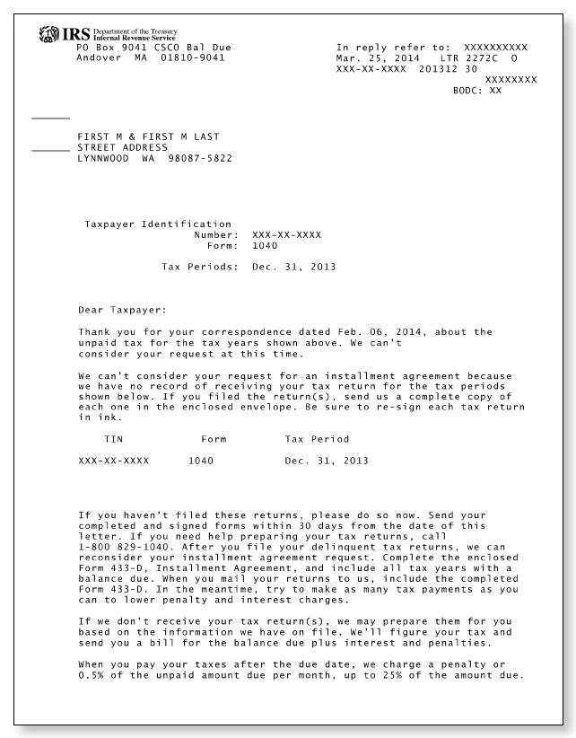 Irs letter 2272c sample 1 for Letter to the irs template