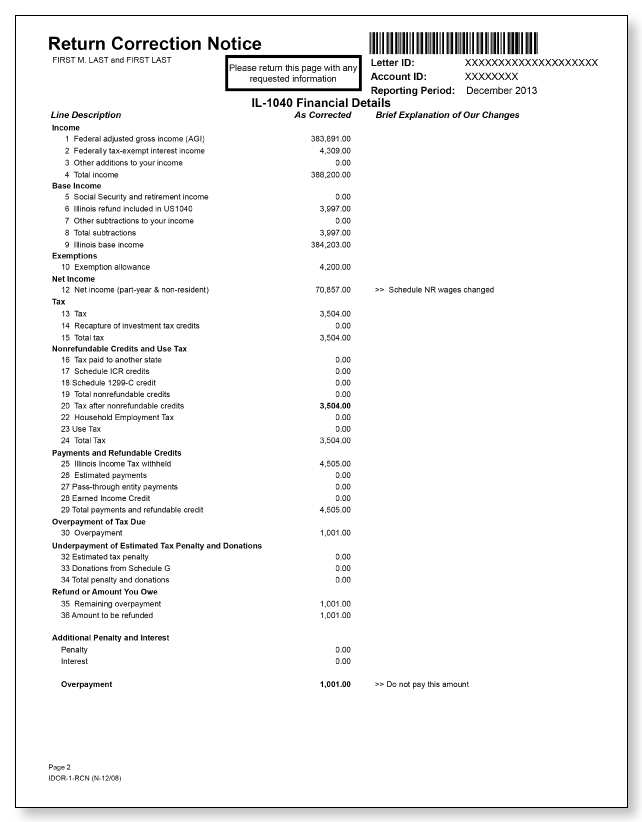 Illinois Department of Revenue IDOR-1-RCN Letter – Sample 1