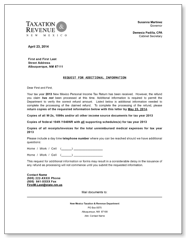 new mexico request for additional information letter sample 1