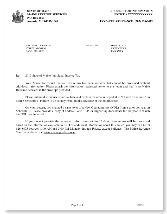 Maine Revenue Services Additional Information Letter – Sample 1