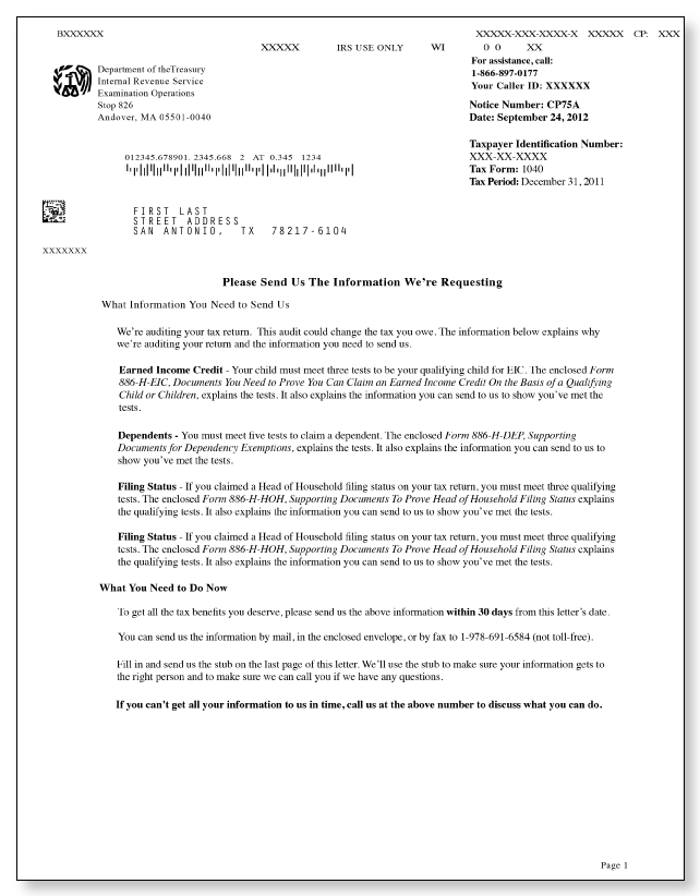 irs audit letter cp75a sample 1