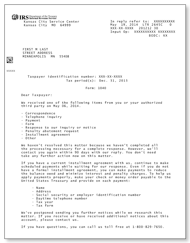 Irs letter 2645c sample 1 for Letter to the irs template