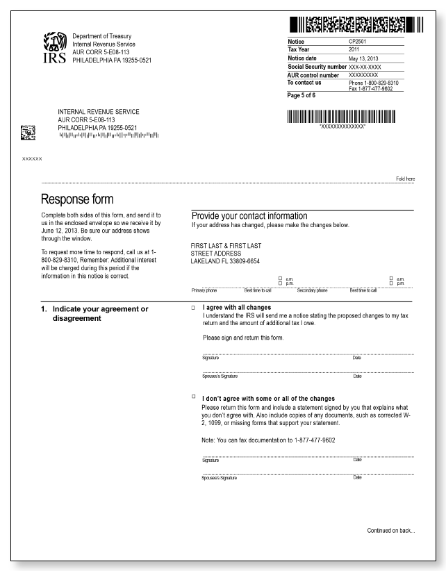 irs audit letter cp2501  u2013 sample 2