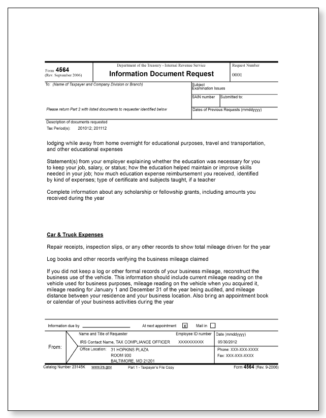 IRS Audit Letter 3572 – Sample 2