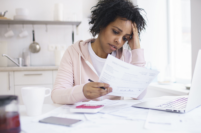 woman distressed about finances
