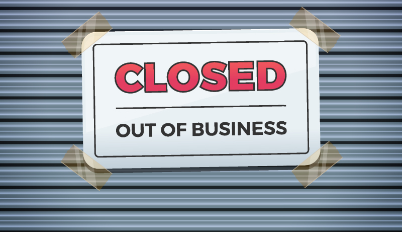 closed - out of business sign