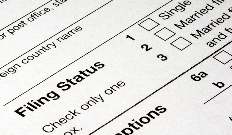 tax document showing filing status options
